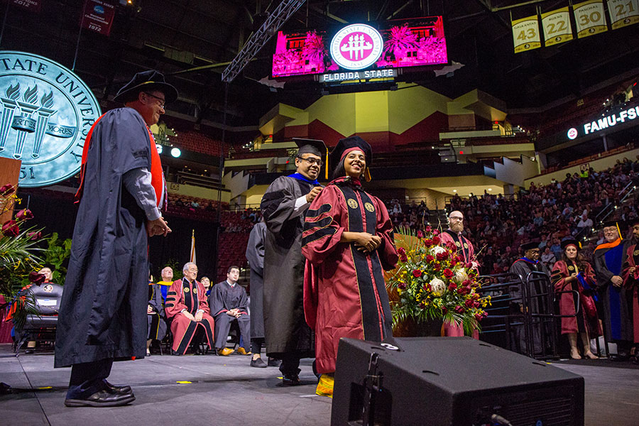 Divya Bahadur, an international student from India, received her Ph.D in chemical engineering during FSU's commencement ceremony Saturday, Dec. 14 (FSU Photography Services/Bill Lax)