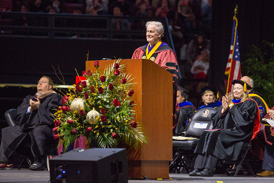 President John Thrasher presided over both commencement ceremonies on Friday, Dec. 13, and Saturday, Dec. 14, 2019. (FSU Photography Services/Bill Lax)