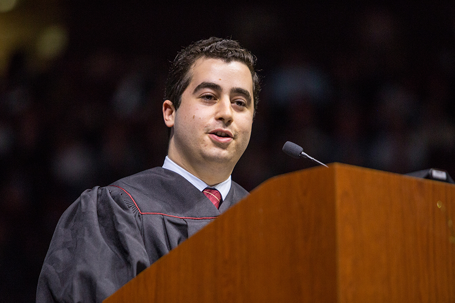 Florida State University's Student Body President Evan Steinberg offered encouraging remarks to the arena of graduates during both commencement ceremonies. (FSU Photography Services/Bill Lax)