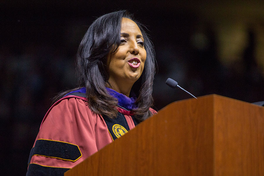 Judge Nina Ashenafi, the first Ethiopian-born person to serve as a judge in the United States and a graduate of the FSU Law School, delivered the keynote address during FSU's commencement ceremony Saturday, Dec. 14. (FSU Photography Services/Bill Lax)