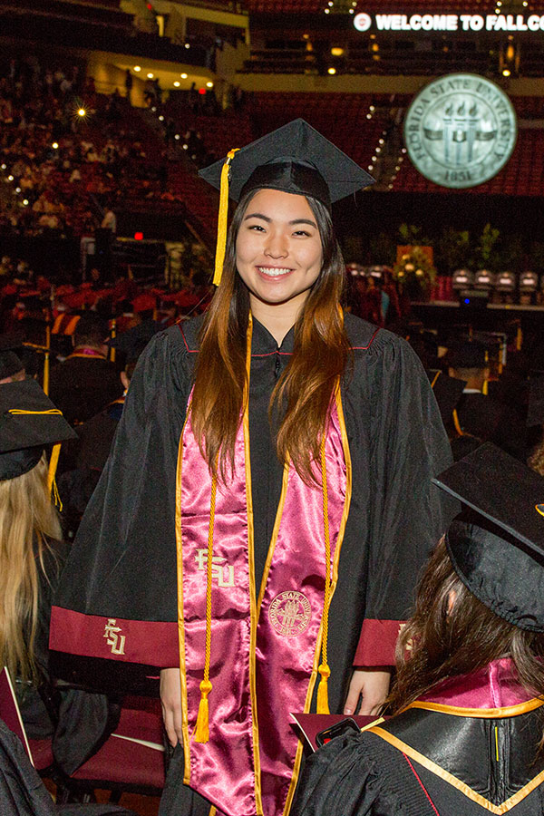 Sohee Yu, a Public Relations major from Seoul, South Korea, graduated during the commencement ceremony Friday, Dec. 13, 2019. (FSU Photography Services/Bill Lax)