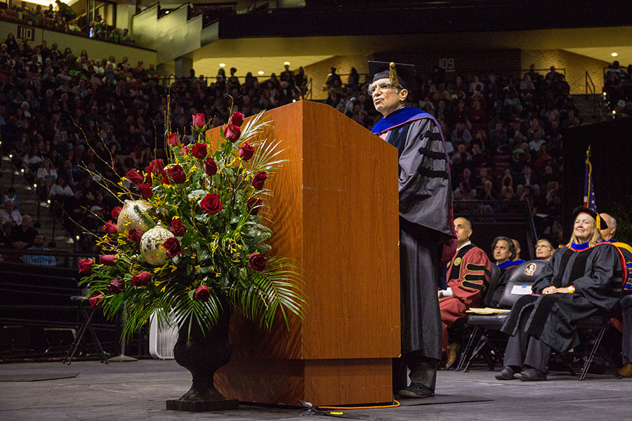 Timothy Cross, FSU's 2019-2020 Robert O. Lawton Distinguished Professor, delivered the keynote address during FSU's commencement ceremony Friday, Dec. 13, 2019. (FSU Photography Services/Bill Lax)