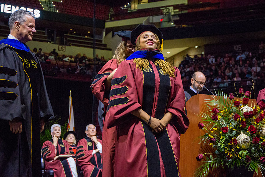 Eve Humphrey, who rose to national prominence when she joined with a local photographer in a photoshoot for her dissertation, was honored with her Ph.D in biology during the commencement ceremony Friday, Dec. 13, 2019. (FSU Photography Services/Bill Lax)