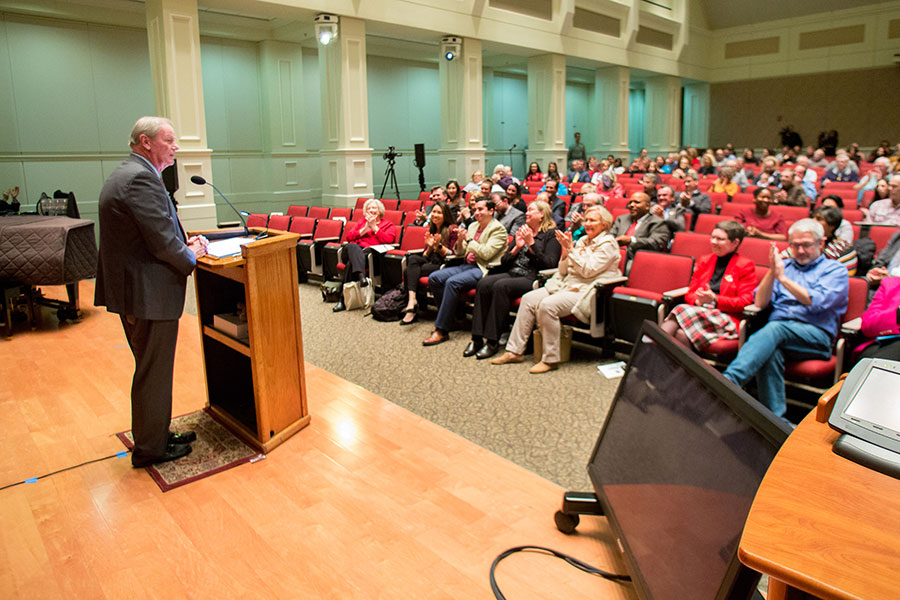 The Faculty Senate welcomed President Thrasher for the annual State of the University address. (FSU Photography Services)