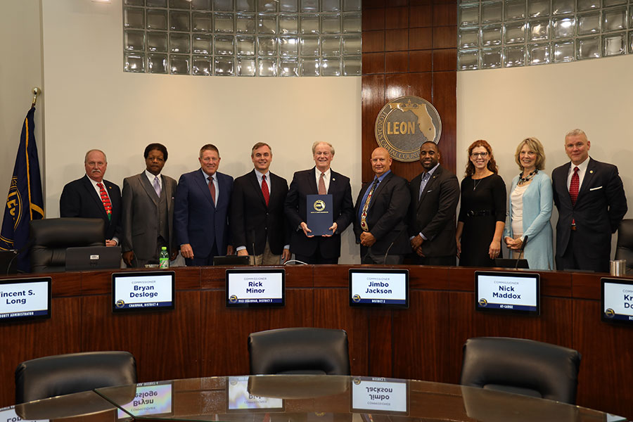 President John Thrasher accepted the proclamation from the Leon County Board of County Commissioners on behalf of the university Florida State University.