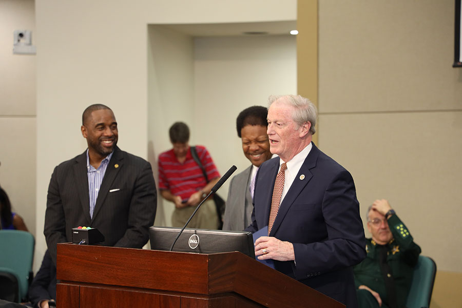 President John Thrasher addresses the Leon County Board of County Commissioners after commissioners Nick Maddox and Bill Proctor read the proclamation.