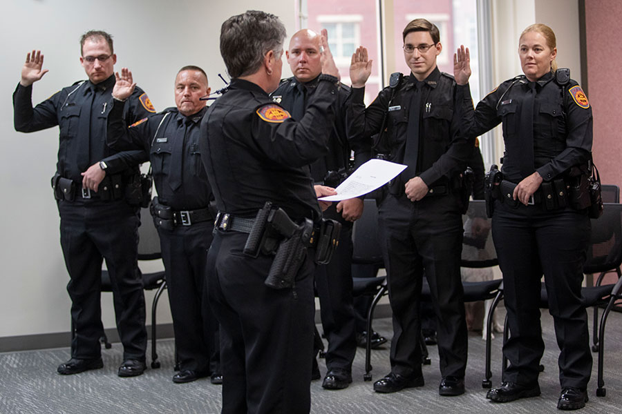 Florida State University Police Chief Terri Brown swore in five new police officers and the department's first two K-9s during a ceremony Jan. 24, 2020. (FSU Photography Services)