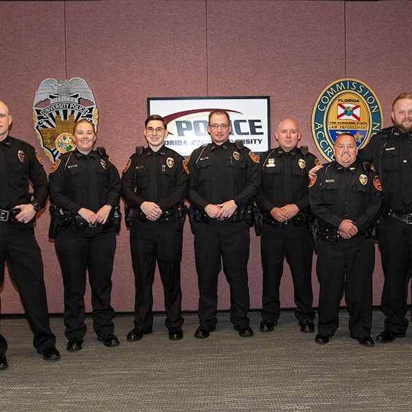 FSUPD swears in five new officers and two K-9s. From left: Chase Yarborough with K-9 Nera, Tiffany Spears, Craig Kistner, David Taczak, Matt Hedges, John Beeman and Adam Walker with Tomahawk. 2020