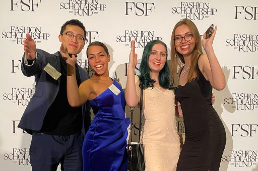 FSU's Fashion Scholarship Fund winners at a celebratory gala in New York City. Pictured from the left: Alfred Yeh, Lily Fuller, Nadia Love and Zuzanna Szulc.