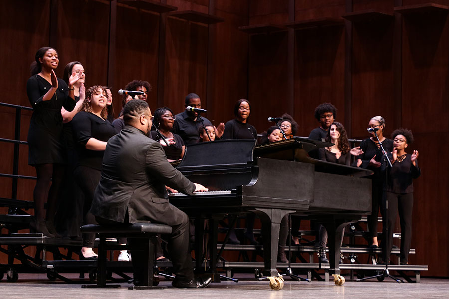 The FSU Gospel Choir serenaded the audience to begin the 32nd Annual MLK Commemoration Celebration (Mia Weinand)