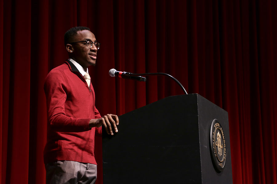 Caleb Dawkins, the current student body treasurer, introduced President Thrasher at the 32nd Annual MLK Commemoration Celebration. (Mia Weinand)