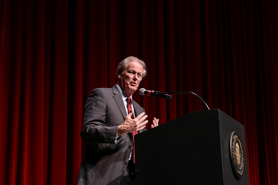 President Thrasher offers his opening remarks during the 32nd Annual MLK Commemoration Celebration. (Mia Weinand)