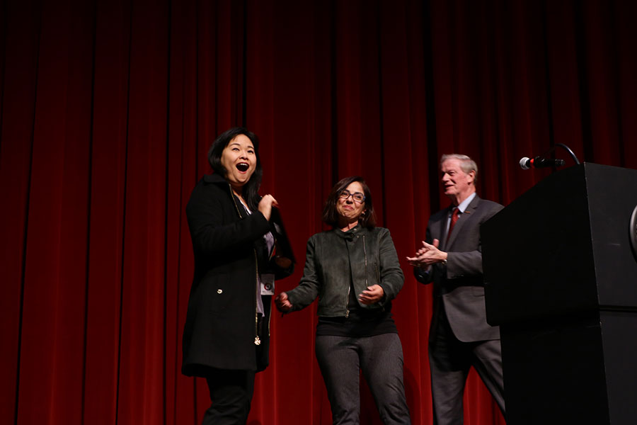 President Thrasher (R) and Delia Poey (L) presented Huan Chen with the 2020 Martin Luther King Jr. Distinguished Service Award. (Mia Weinand)