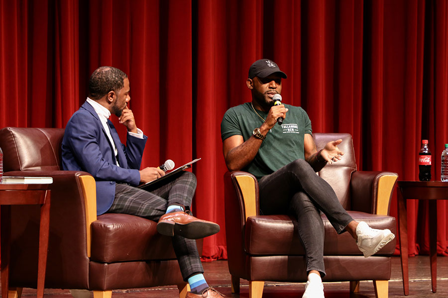 Assistant Professor Cameron Beatty (L) moderated the conversation with Karamo Brown (R). (Mia Weinand)
