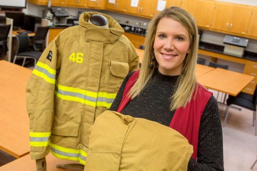 Meredith McQuerry, an assistant professor in the Jim Moran College of Entrepreneurship. Her research investigated the different problems male and female firefighters have with flexibility and range of motion in their protective equipment.
