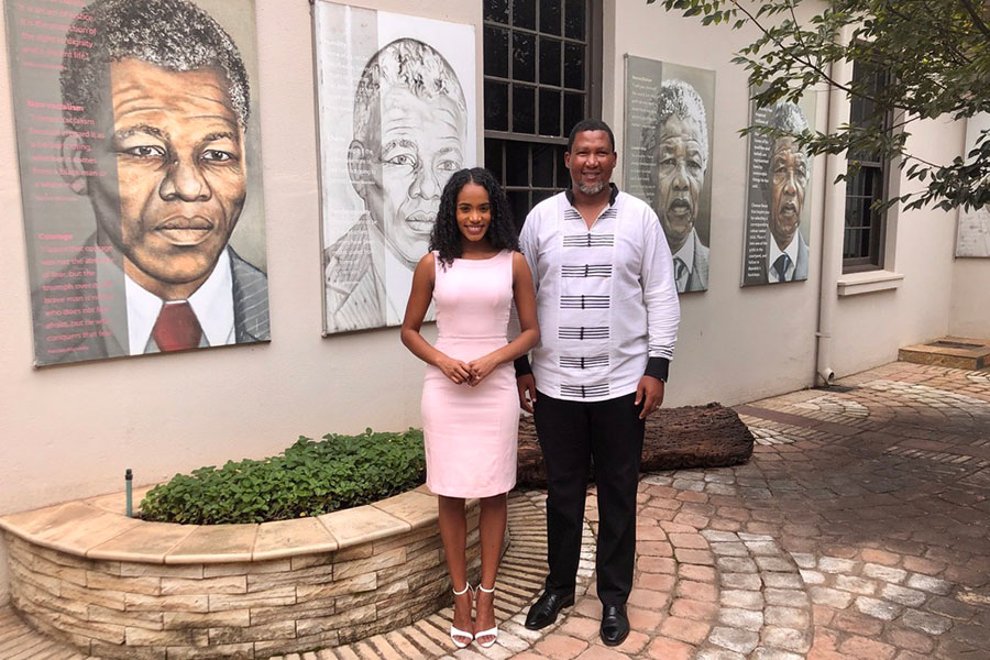 Toni-Ann Singh, the reigning Miss World, made her first official overseas visit to South Africa as a special guest of Chief Mandela, Nelson Mandela's eldest grandson. (Credit: Miss World)