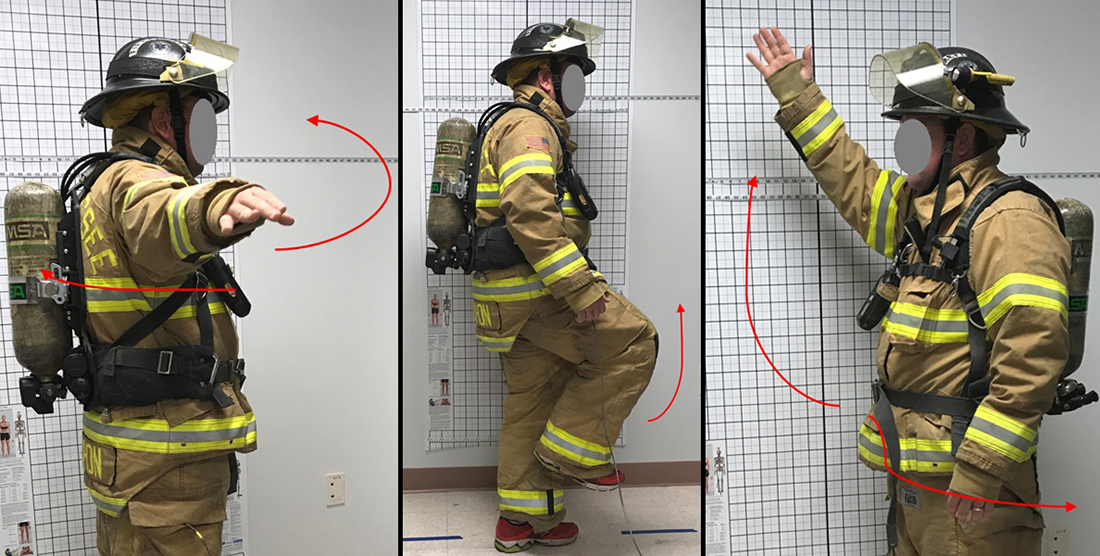 A firefighter performs range of motion tests for the study.
