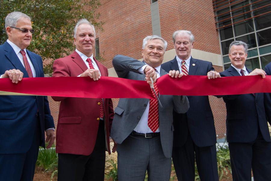 (L to R) University System Chancellor Marshall Criser, Chair of the FSU Board of Trustees Ed Burr, Former President Eric Barron, President John Thrasher and Dean of the College of Arts & Sciences Sam Huckaba (FSU Photography Services)