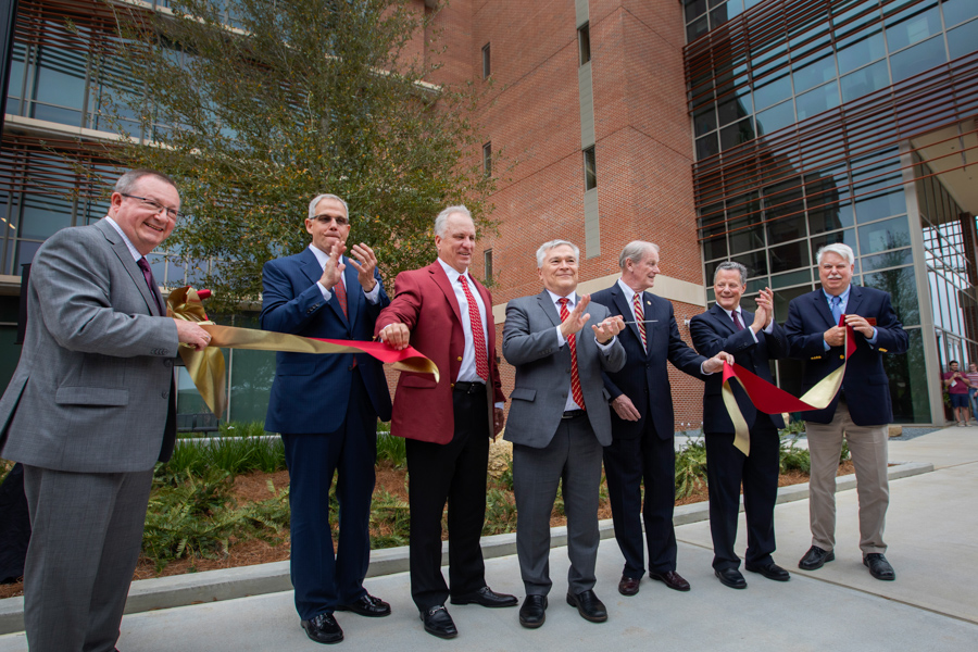 (L to R) EOAS Chair Vincent Salters, University System Chancellor Marshall Criser, FSU Board of Trustees Ed Burr, Former President Eric Barron, President John Thrasher, Dean of the College of Arts & Sciences Sam Huckaba and Former Chair of EOAS Jim Tull (FSU Photography Services)