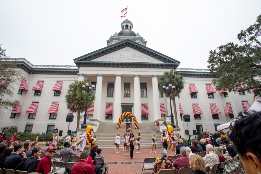 The Seminole Sound and FSU Cheerleaders perform at FSU Day at the Capitol Feb 12, 2020. (FSU Photography Services)