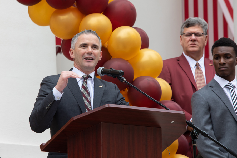 FSU Football Head Coach Mike Norvell speaks at FSU Day at the Capitol 2020 (FSU Photography Services)
