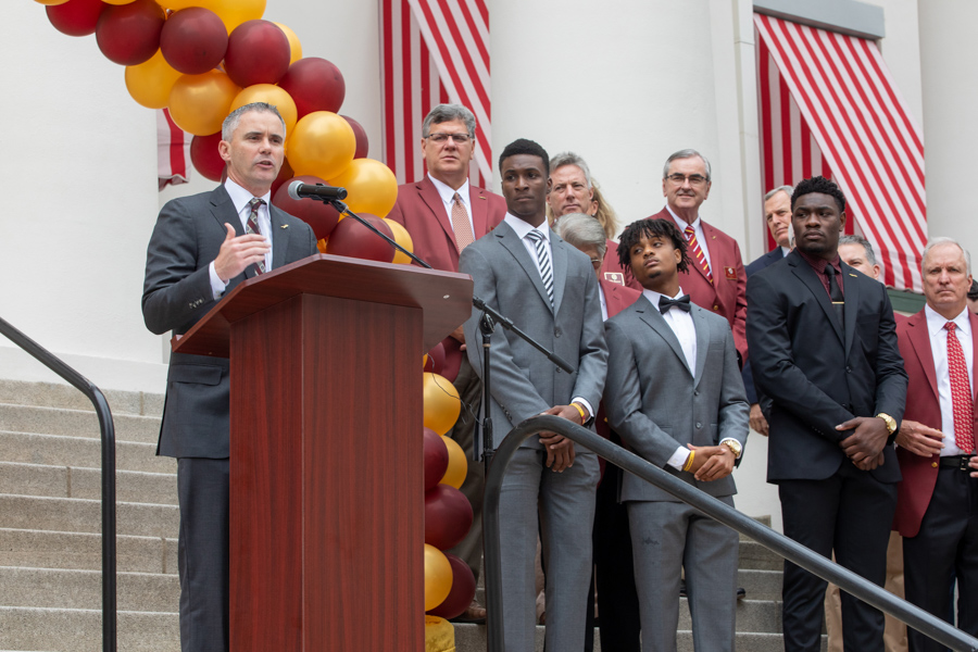 FSU Football Coach, Mike Norvell speaks at FSU Day at the Capitol 2020 (FSU Photography Services)