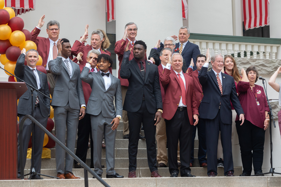 FSU Football Head Coach, Mike Norvell and team members with President Thrasher at FSU Day at the Capitol 2020 (FSU Photography Services)