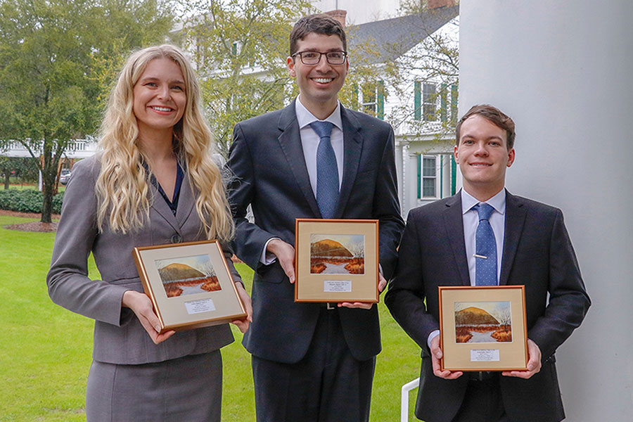 Winning team members from the 2020 Jeffrey G. Miller National Environmental Law Moot Court Competition are FSU third-year law students Ashley Englund, Alexander Purpuro and Steven Kahn.