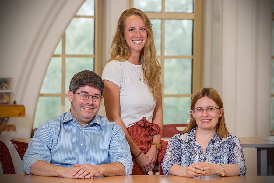 Florida State University researchers Gregg Stanwood (L), Megan Beerse (M) and Theresa Van Lith (R) have developed an online intervention that combines mindfulness practices and art therapy to reduce stress and anxiety in college students. (FSU Photography Services/Bill Lax)