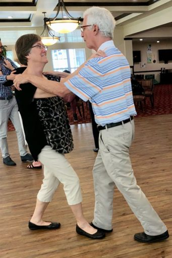 A couple dances Argentine tango during a practice session.