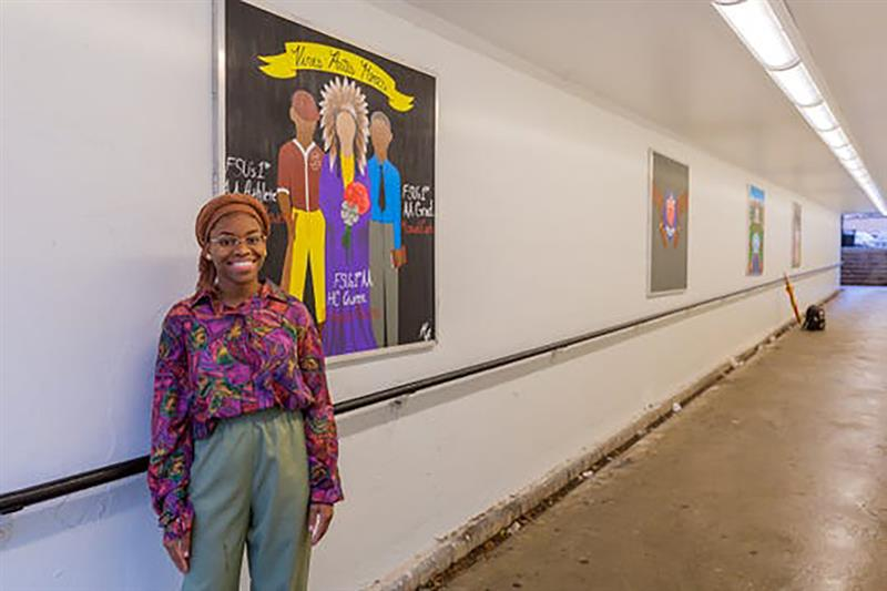 Myah Freeman, the recipient of the 2020 President's Undergraduate Humanitarian of the Year Award, led a project that added six paintings to the DeGraff Tunnel on FSU's campus in an effort to support the enhancement of the student experience. (FSView, Emma Moody)