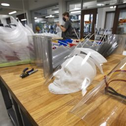 Face shields under construction at the Innovation Hub. (FSU Photogaphy Services)