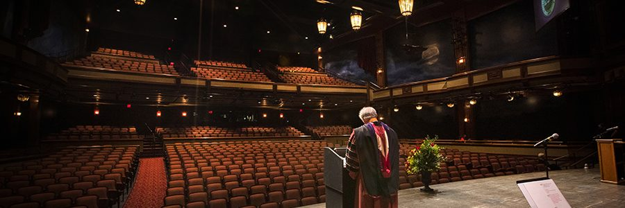 President John Thrasher addresses graduates during FSU's virtual spring commencement ceremony, which was streamed May 2, 2020. (FSU Photography Services)