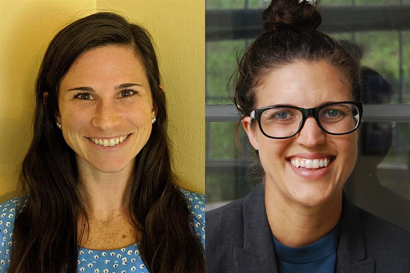 Brittany Mathes (L) and Jessi Thomsen (R) were the only two graduate students in the entire state of Florida awarded prestigious Scholar Awards from the Philanthropic Educational Organization (P.E.O.)