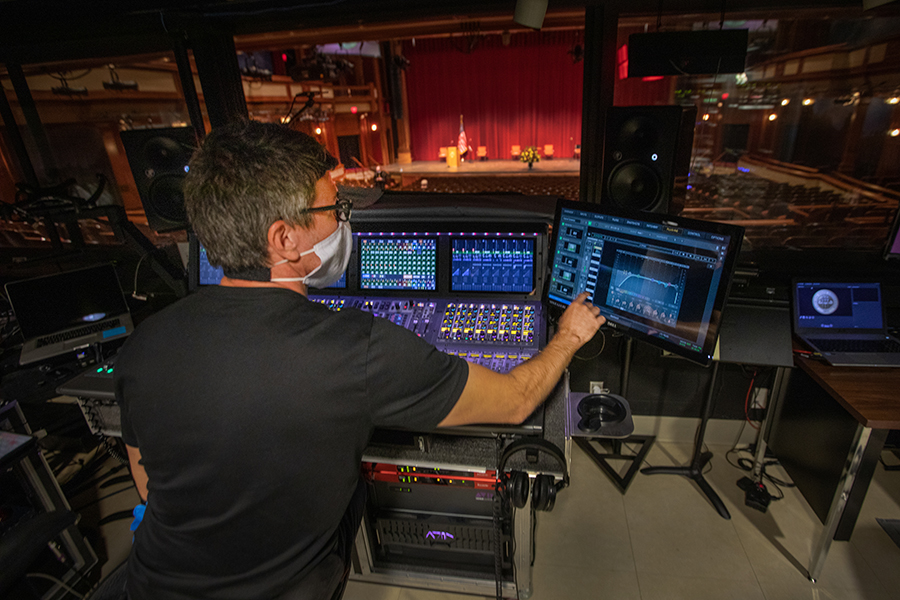 Staff from Ruby Diamond Concert Hall and WFSU behind the scenes during FSU's virtual spring commencement ceremony, which was streamed May 2, 2020. (FSU Photography Services)
