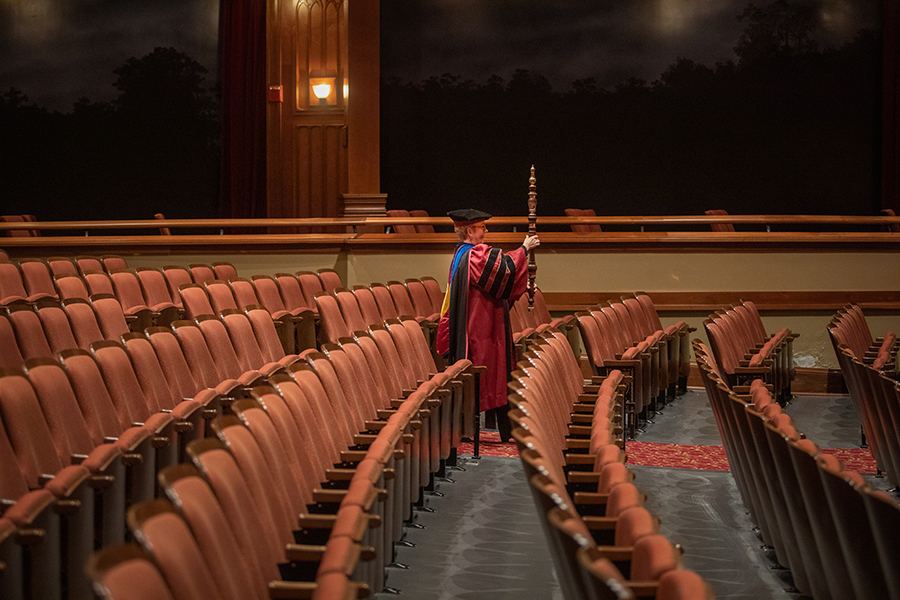 Dean of the Jim Moran College of Entrepreneurship Susan Fiorito leads the commencement processional into an empty Ruby Diamond Concert Hall. (FSU Photography Services)