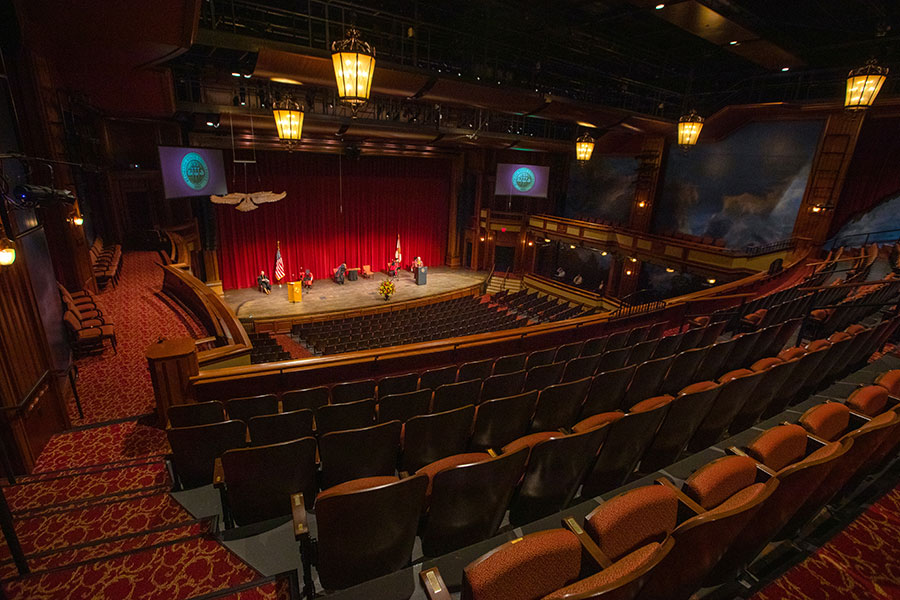 Ruby Diamond Concert Hall sits empty during FSU's virtual spring commencement ceremony, which was streamed May 2, 2020. (FSU Photography Services)