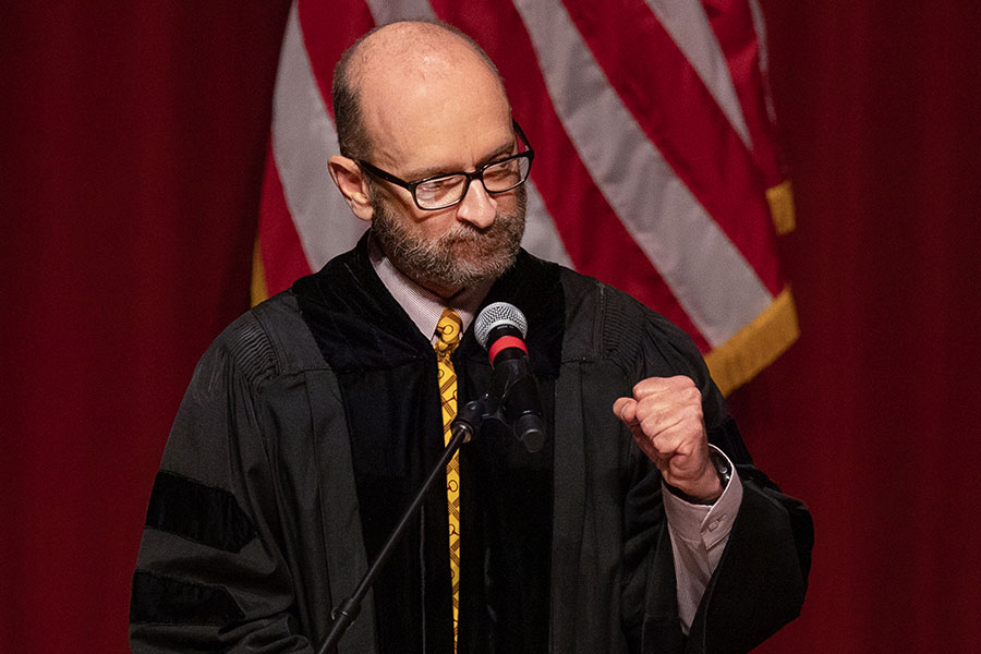 Teaching professor Mark Zeigler delivers the keynote address during FSU's virtual spring commencement ceremony, which was streamed May 2, 2020. (FSU Photography Services)