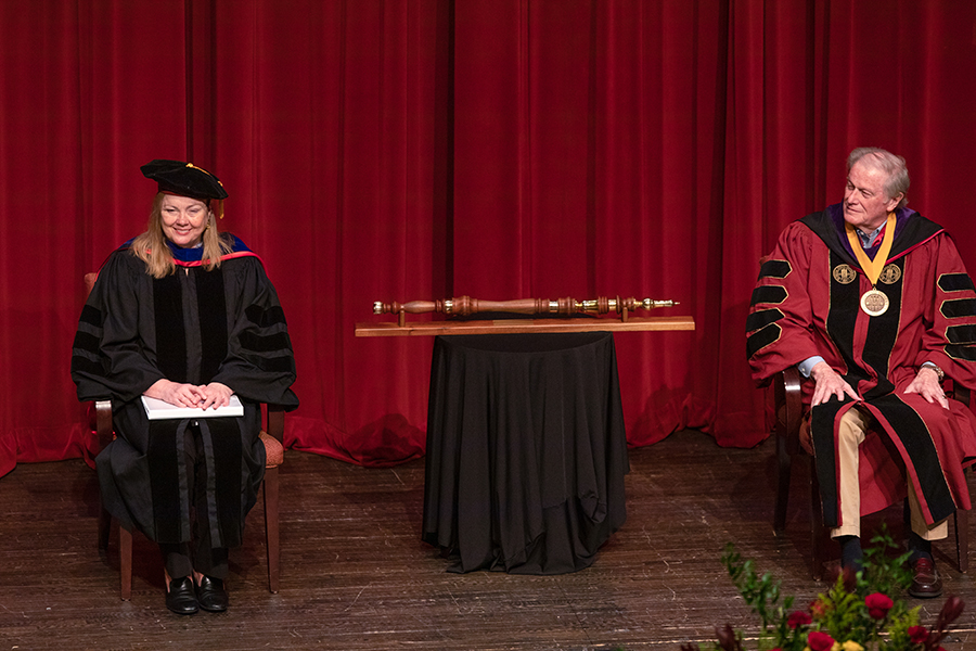 Provost and Executive Vice President for Academic Affairs Sally McRorie and President John Thrasher enjoy Mark Zeigler's speech during FSU's virtual spring commencement ceremony, which was streamed May 2, 2020. (FSU Photography Services)