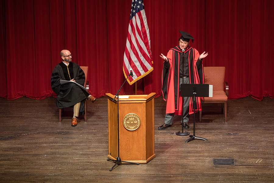Dean of the Graduate School Mark Riley confers master's and doctoral degrees during FSU's virtual commencement ceremony, which was streamed May 2, 2020. (FSU Photography Services)