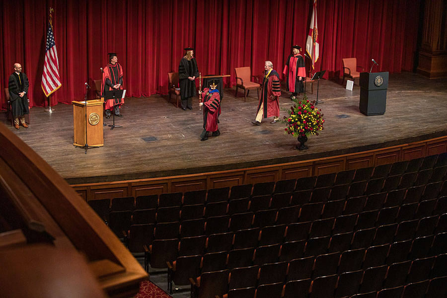 The commencement processional leaves an empty Ruby Diamond Concert Hall after FSU's virtual commencement ceremony, which was streamed May 2, 2020. (FSU Photography Services)