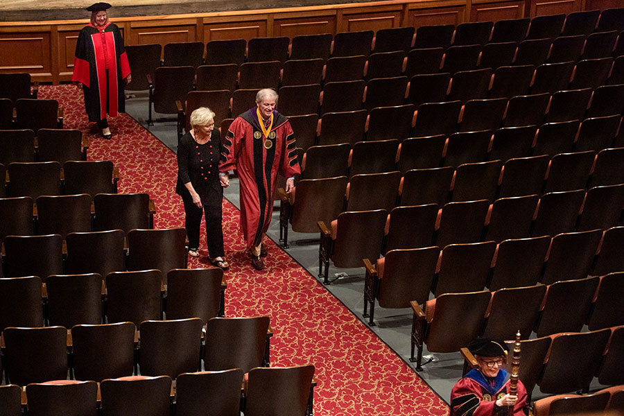 President John Thrasher and his wife, Jean, join the processional out of Ruby Diamond Concert Hall after FSU's virtual commencement ceremony, which was streamed May 2, 2020. (FSU Photography Services)
