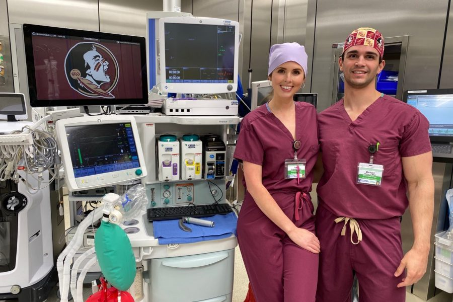 Certified Registered Nurse Anesthetists, Taylor Englade and fiancé Michael Abreu earned their degrees at FSUPC in 2018.