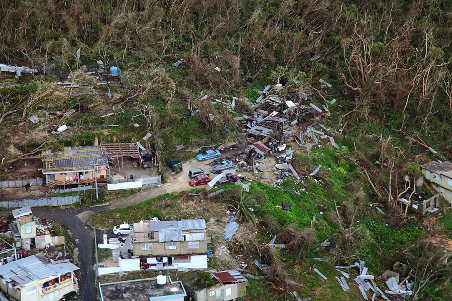Homes lay in ruin as seen from a U.S. Customs and Border Protection, Air and Marine Operations, Black Hawk during a flyover of Puerto Rico after Hurricane Maria September 23, 2017. U.S. Customs and Border Protection photo by Kris Grogan.