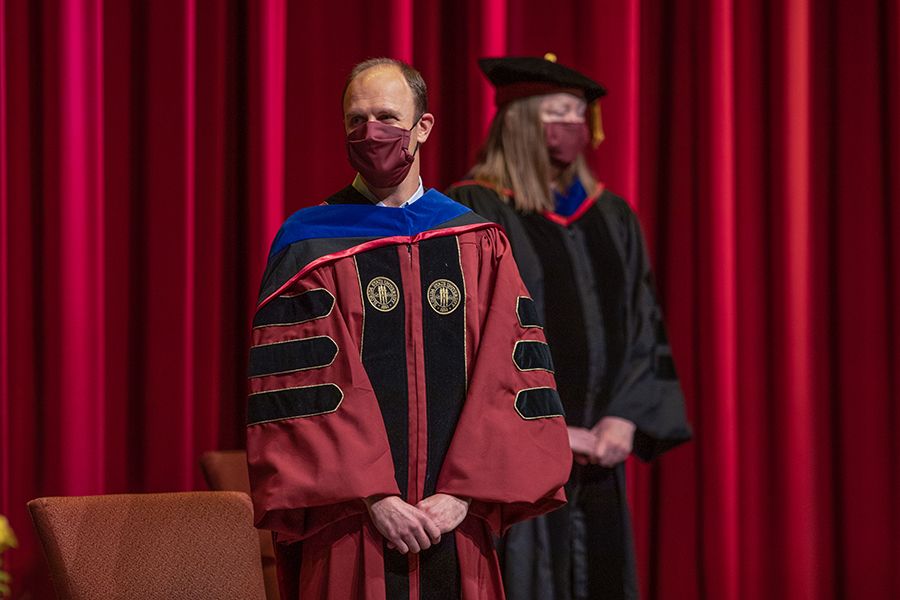 Dean of Undergraduate Students and Assistant Provost Joe O'Shea and Provost Sally McRorie participate in Florida State University's virtual summer commencement ceremony, which was streamed online Friday, July 31, 2020. (FSU Photography Services)