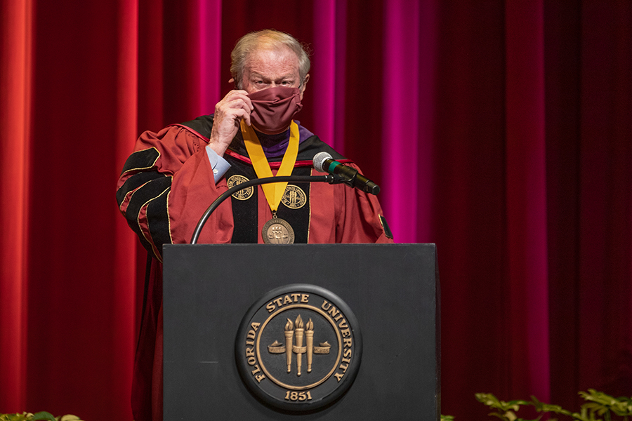 President John Thrasher prepares to speak during Florida State University's virtual summer commencement ceremony, which was streamed online Friday, July 31, 2020. (FSU Photography Services)