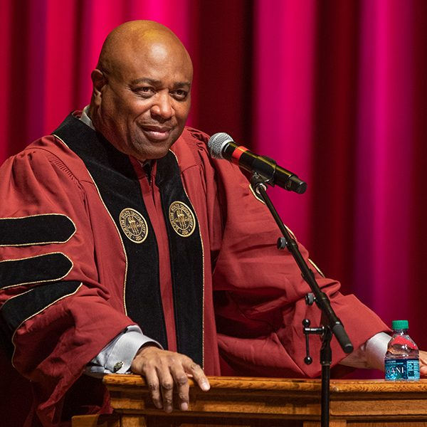 FSU men's basketball coach Leonard Hamilton addresses graduates during Florida State University's virtual summer commencement ceremony, which was streamed online Friday, July 31, 2020. (FSU Photography Services)