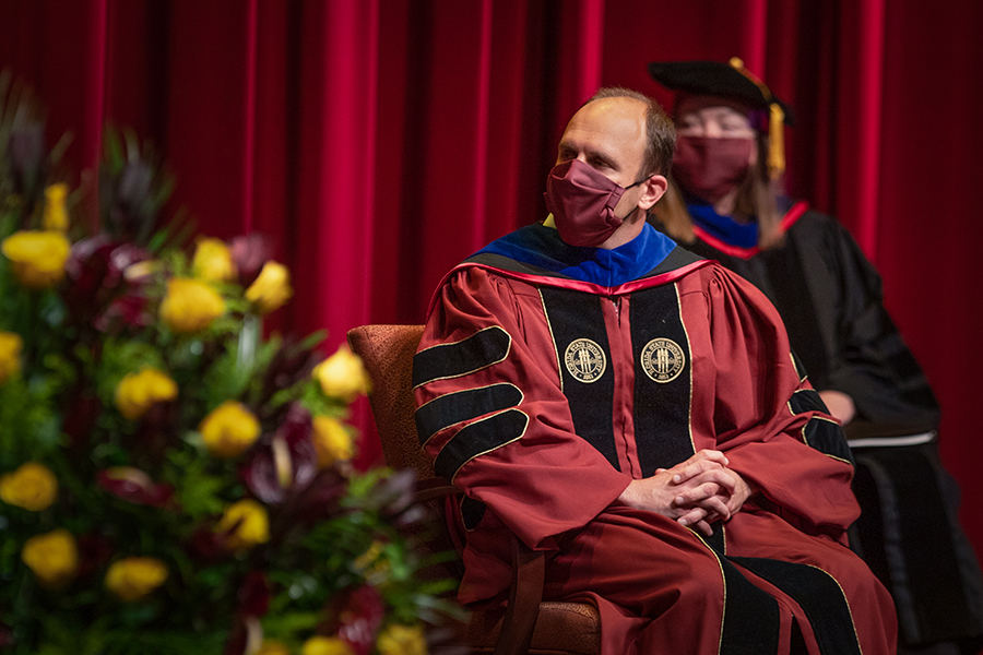 Joe O'Shea, dean of Undergraduate Studies and assistant provost, participates in Florida State University's virtual summer commencement ceremony, which was streamed online Friday, July 31, 2020. (FSU Photography Services)