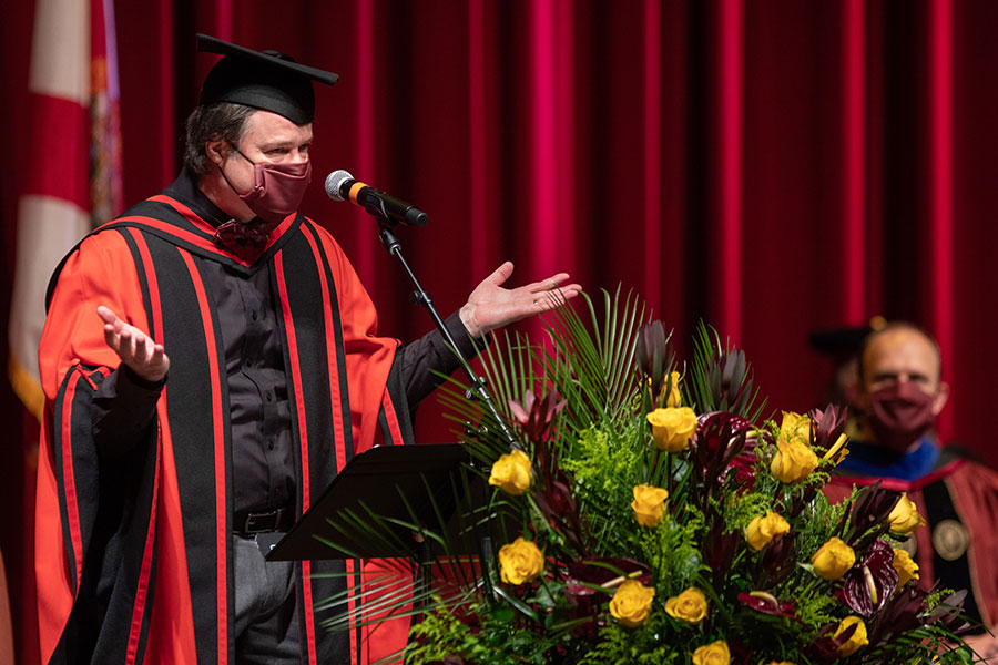 Mark Riley, dean of the Graduate School, confers degrees during Florida State University's virtual summer commencement ceremony, which was streamed online Friday, July 31, 2020. (FSU Photography Services)