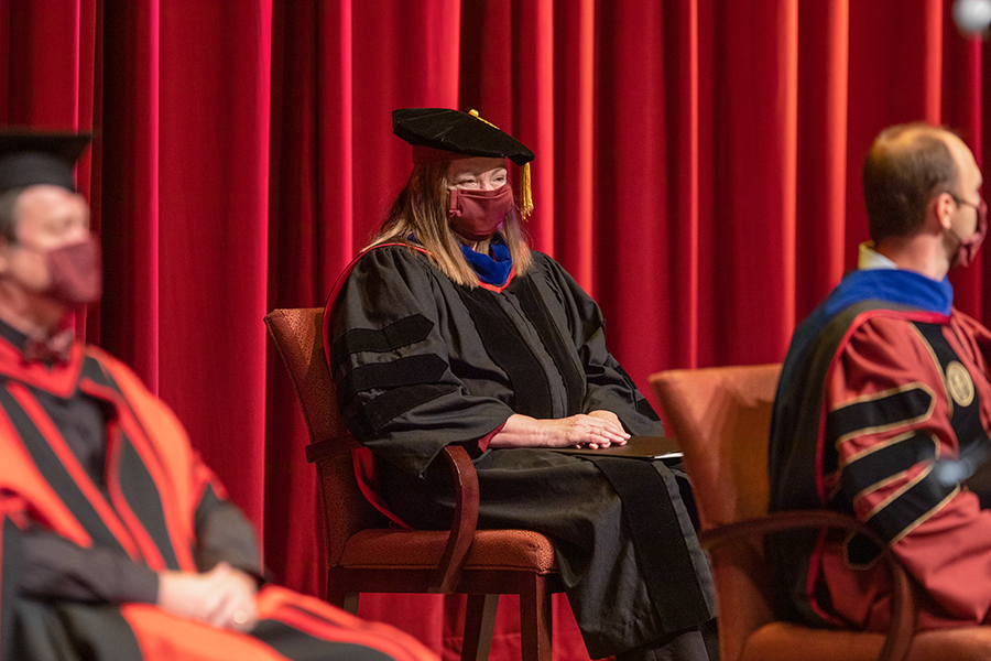 Provost Sally McRorie participates in Florida State University's virtual summer commencement ceremony, which was streamed online Friday, July 31, 2020. (FSU Photography Services)